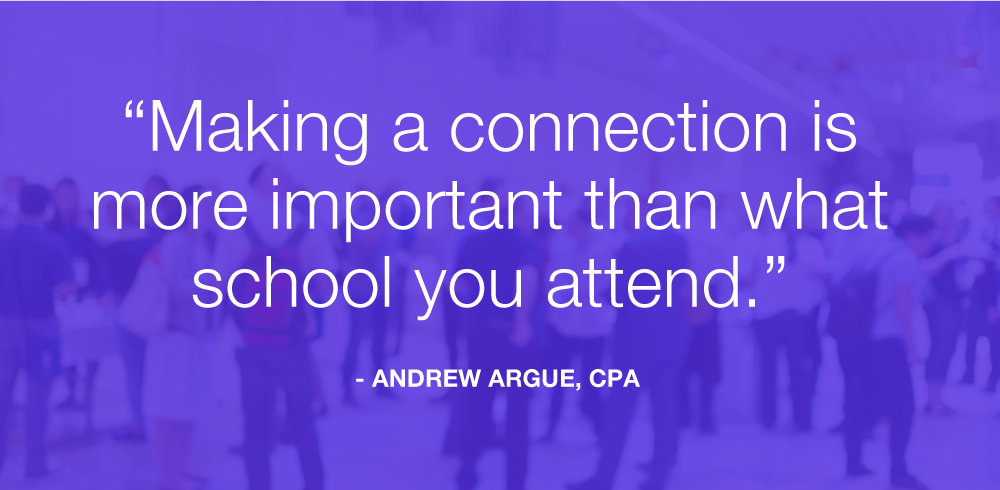 making a connection is more important than what school you attended